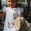 A vonalú madeirás kézzel hímzett  lányka ruha., Ruha, divat, cipő, Gyerekruha, Kisgyerek (1-4 év), Gyerek (4-10 év), Hímzés, Varrás, A vonalú madeirás  kézzel hímzett lányka ruha. 74-146-os méretig készítem., Meska