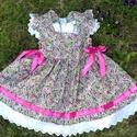 virágos lányka ruha, Baba-mama-gyerek, Ruha, divat, cipő, Gyerekruha, Baba-mama kellék, Varrás, Virágos lányka ruha 100% pamutból, 74-128 méretig készítem.  Kétoldalt fűzővel szabályozható a bősé..., Meska