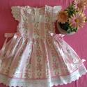 Rózsás lányka ruha, Ruha, divat, cipő, Gyerekruha, Gyerek (4-10 év), Kisgyerek (1-4 év), Rózsás lányka ruha 74-128 as méretig, kétoldalt fűzővel szabályozható a bősége., Meska