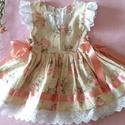 Rózsás barack színű ruha, Baba-mama-gyerek, Ruha, divat, cipő, Gyerekruha, Kisgyerek (1-4 év), Rózsás barack színű ruha, kétoldalt fűzővel szabályozható a bősége. 74-134-es méretig készítem...., Meska
