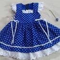 Kékfestő lányka ruha, Ruha, divat, cipő, Gyerekruha, Kisgyerek (1-4 év), Gyerek (4-10 év), Kékfestő lányka ruha, 74-140-es méretig készítem.Kétoldalt fűzővel szabályozható a bősége...., Meska