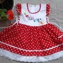 Katica lányka ruha, Ruha, divat, cipő, Gyerekruha, Gyerek (4-10 év), Kisgyerek (1-4 év), Piros pöttyös lányka ruha 74-140-es méretig készítem. Kétoldalt fűzővel szabályozható a bősége...., Meska