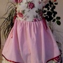Rózsás ruha, Ruha, divat, cipő, Gyerekruha, Kisgyerek (1-4 év), Gyerek (4-10 év), Rózsás, ruha alkalomra,  kordbársonyból, és  vászonból madeira csipkével, és szatén szalaggal. Kétol..., Meska