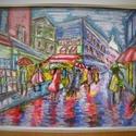 Montmartre festmény, Képzőművészet, Festmény, Akril, Pasztell, Festészet, Párizs művésznegyedéről készült, vegyes technikájú vászonkép. Akril és pasztell, vagyis vegyes tech..., Meska