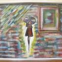 Egy francia nő, Képzőművészet, Festmény, Akril, Festészet, Egy francia nő a Montmartre-on. Vászonra festett akril és pasztell, vagyis vegyes technikával készü..., Meska