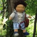Karcsi waldorf baba, Játék, Baba játék, Baba, babaház, Plüssállat, rongyjáték, Baba-és bábkészítés, Varrás, Karcsi egy vagány kisfiú, szeret fára mászni, kirándulni, ezért sportos ruhát kapott. 40 cm magas, ..., Meska