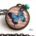 Pillangó Lepke  Nyaklánc  Őszi Kottás Zene, Ékszer, Nyaklánc, Pillangó Nyaklánc  Kék pillangó díszíti ezt a nyakláncot, aminek a háttere régies kotta. A ..., Meska