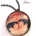 Klimt Anya gyermekével nyaklánc Művészi, Ékszer, Nyaklánc, Klimt bensőséges hangulatú Anya gyermekével című festményének képével készítettem ezt a ..., Meska