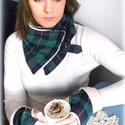 Őszi téli Sál kesztyű szett Zöld Piros kockás  Körsál Nyakmelegítő, Ruha, divat, cipő, Kendő, sál, sapka, kesztyű, Sál, Varrás, Zöld kockás sál kesztyű szett  Zöld sál szett  Nagyon puha,  zöld színű kockás anyagból készítettem..., Meska
