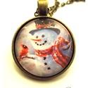 Hóember nyaklánc téli hóemberes, Ékszer, Nyaklánc, Ékszerkészítés, Hóember nyaklánc téli  A tél elmaradhatatlan programja, a hóemberépítés, feltéve, ha már jó vastag ..., Meska