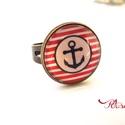 Horgonyos gyűrű  tengerész matróz kék fehér piros csíkos, Ékszer, Gyűrű, Ékszerszett, Horgonyos Tengerész Nyári nyaklánc Matróz stílusban  Kék fehér piros színösszeállításban készítettem..., Meska