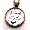 Macska Cica nyaklánc Macskás Cicás Fekete Fehér, Ékszer, óra, Nyaklánc, Ékszerkészítés, A  macskák nagy kedvenceim, sok szeretetet adnak, ha szeretetet kapnak...Egyetértek Leonardo da Vin..., Meska