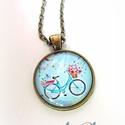 Biciklis Bringás Nyaklánc nyári kék világoskék púderkék, Ékszer, óra, Esküvő, Nyaklánc, Ékszerkészítés, Nyári biciklis nyakláncot készítettem, a napsütés sugallatára. Nagyon trendi, friss kékes árnyalatú..., Meska