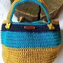 Mustár-kék kosár, Gyönyörű színekből készített makramé fény...