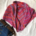 AKCIÓ!!! Lilás piros  kendő  , Pamut fonalból horgolt batik kendő.    Mérete  ...