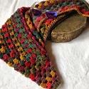 Vastag színes batik kendő , Alize Burcum batik akril  fonalból horgolt kendő...