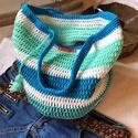 Nyár színei táska , Mercerizalt pamut  fonalból horgolt kEkes zöld t...