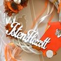 Isten Hozott üde nyári vintage kopogtató!, Dekoráció, Otthon, lakberendezés, Ajtódísz, kopogtató, Koszorú, Virágkötés, Fehér veszőből készűlt narancs vintage kopogtató. Termésekkel díszitettem, mohával, fával, kis tobo..., Meska