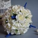 Levendulás álom esküvői gömb csokor!, Esküvő, Esküvői csokor, Virágkötés, Levendula imádóknak ajánlom ezt a finom elegáns lila-fehér habrózsákból összeállított örök gömb cso..., Meska