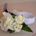 Csuklódísz habrózsás romantika!, Esküvő, Esküvői ékszer, Esküvői dekoráció, Állítható a csuklódísz tépőzárral záródik. Levendula szálak teszik még romantikusabbá, ..., Meska