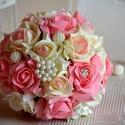 Pazar pasztel álom esküvői ékszercsokor, Esküvő, Esküvői csokor, Virágkötés, Fehér-babarózsaszín-púderrózsaszín habrózsákból készítettem ezt a gyönyörű pasztel álom örök ékszer..., Meska