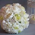 Hercegnői Luxus Fehér  Észercsokor, Esküvő, Esküvői csokor, Esküvői ékszer, Esküvői dekoráció, Krémfehér és ekrü-zöld színátmenetes habrózsákból készült az örök ékszer varázslatos..., Meska