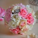 Örök Észercsokor, Esküvő, Esküvői csokor, Esküvői ékszer, Virágkötés,  Ez a pazar mégis finom eleganciát sugárzó csodás ékszercsokor. Fehér-puderrózsaszín-babarózsaszín ..., Meska