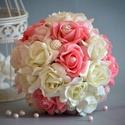 PAZAR VARÁZSLAT, Esküvő, Esküvői csokor, Nászajándék, Menyasszonyi ruha, Virágkötés,  Ez a pazar mégis finom eleganciát sugárzó csodás habrózsa, ekrü-babarózsaszín-málnarózsaszín gömb ..., Meska