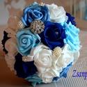 Kék álom ékszer csokor, Esküvő, Esküvői csokor, Virágkötés, 4 színű habrózsákból készítettem ezt a gyönyörű kék álom göm ékszercsokrot. Ezzel a csokorral esküv..., Meska