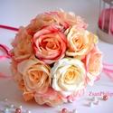 Varázslat Esküvői Csokor, Esküvő, Dekoráció, Esküvői csokor, Csokor, Ekrű színátmenetes barackrózsaszín élethű selyemvirág örökké tartó, elegánsan diszkrét..., Meska