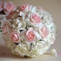 Exkluzív Elegancia Csokor, Esküvő, Dekoráció, Esküvői csokor, Csokor, Virágkötés, Fehér-színátmenetes puderrózsaszín habrózsákból készítettem ezt a habrózsa finom eleganciát sugárzó..., Meska