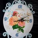 Vintage Óra , Otthon, lakberendezés, Falióra, óra, Asztaldísz, Romantikus virág minták díszítik a vintage hangulatú ovális órát. Festés után cirádás széleit koptat..., Meska