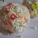 Pazar csoda csokor , Esküvő, Dekoráció, Esküvői csokor, Esküvői dekoráció, Virágkötés, Csodás örök habrózsából készült kerek csokor, törtfehér és színátmenetesbabarózsaszínből. Szára fin..., Meska