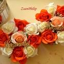 2db Köszönettel virágbox, Esküvő, Otthon, lakberendezés, Esküvői csokor, Meghívó, ültetőkártya, köszönőajándék, Virágkötés, Romantikus ekrü,barack és narancs habrózsából készült ez a csodás kerek vintage hangulatú  virágbox..., Meska