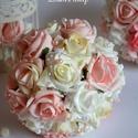 Pazar királyi luxus csokor, Esküvő, Esküvői csokor, Esküvői dekoráció, Esküvői ékszer, Vaj-színátmenetes púder rózsaszín-babarózsaszín habrózsákból készítettem ezt a finom ele..., Meska