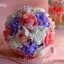 Hamupipőke Gáláns Csokor, Esküvő, Esküvői csokor, Esküvői dekoráció, Menyasszonyi ruha, Ez a pazar mégis finom eleganciát sugárzó fehér-puderrózsaszín-málna-orgonalila habrózsa gömb csokor..., Meska