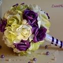 Lila Elegancia Örökcsokor, Esküvő, Szerelmeseknek, Otthon, lakberendezés, Esküvői csokor, A mágikus lila szín ihlette a sötétlila,színátmenetes-pisztáciazöld,vaj habrózsákból kés..., Meska