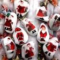 Adventi hálakő 10db, Dekoráció, Ünnepi dekoráció, Karácsonyi, adventi apróságok, Karácsonyi dekoráció, Hófehér Görögországból rendelt kövekre készültek a télapó mintás díszkövek. Remek egyedi ajándék leh..., Meska