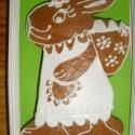 Egy nyúl mézeskalácsból, Dekoráció, Húsvéti apróságok, Mézeskalácssütés, Mézeskalácsból készült húsvéti nyúl. Kiváló ajándék húsvétra csokoládé helyett, locsolóknak, vagy c..., Meska