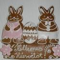 Húsvéti nyulak, Dekoráció, Magyar motívumokkal, Húsvéti apróságok, Mézeskalácssütés, Mézeskalácsból készült nyulak tojással. Kiváló húsvéti ajándék  mindenkinek, locsolkodóknak különle..., Meska