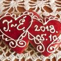 Kettős szív- esküvői vendégajándék, Esküvő, Szerelmeseknek, Meghívó, ültetőkártya, köszönőajándék, Esküvői dekoráció, Mézeskalácsból készült egyedi tervezésű mintával,  díszített szív vendégajándék. Kiváló ajándék mind..., Meska