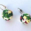 Vidám virágos textil gomb fülbevaló, Ékszer, Fülbevaló, Tavaszi virágmintás textillel bevont gombból készült franciakapcsos fülbevaló (ezüst színű..., Meska