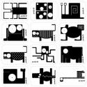 feketefehér állatok, matrica. 12-féle egy íven. ívméret: 130 x 135...