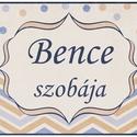 Névtábla (nyomtatható) - chevron pöttyös - kék beige, Baba-mama-gyerek, Gyerekszoba, Baba falikép, Saját szerkesztésű nyomtatható névtábla ajtóra, gyerekszoba falára.  Vásárlást követően..., Meska