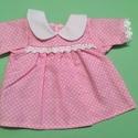Játékbaba ruha ( pöttyös ), Baba-mama-gyerek, Játék, Gyerekszoba, Baba játék, Játékbaba ruha ( pöttyös ): anyaga pamutvászon, 40 cm-es játékbabára megfelelő, hátul tép..., Meska