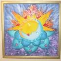 Fény-szeretet-teljesség, Dekoráció, Képzőművészet, Kép, Textil, Kb. 51x51-es méretű selyemkép, fa keretben. A kép hernyóselyemre van festve, speciális selyemf..., Meska