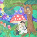 Kis éji zene, Baba-mama-gyerek, Dekoráció, Gyerekszoba, Kép, Selyemfestés, Kb. 50x50 cm-es, hernyóselyemre kézzel festett, egyedi tervezésű mesekép, fa keretben., Meska