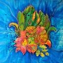Csigák az avarban, Dekoráció, Otthon, lakberendezés, Képzőművészet, Kép, Kb. 50x50 cm, saját tervezésű, kézzel festett selyemkép, habkartonra feszítve, akasztóval. , Meska