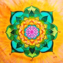 """""""Belső béke"""" mandala kép hernyóselymen, Képzőművészet, Dekoráció, Textil, Kép, Egyedi tervezésű, kézzel festett  hernyóselyem kép. Mérete kb. 50x50 cm, habkartonra van felfe..., Meska"""