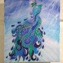"""""""A boldogság kék madara"""" selyemkép, Dekoráció, Képzőművészet, Kép, Textil, Selyemfestés, Egyedi tervezésű, kézzel festett, hernyóselyem kép. Mérete kb. 40x60 cm. Habkartonra van feszítve, ..., Meska"""